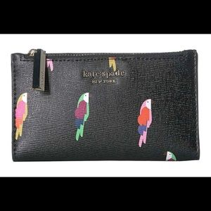NEW Kate Spade Parrot Small Slim Bifold Wallet